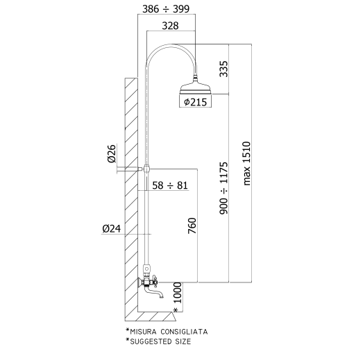 Paffoni Belinda brusekolonne retro med håndbruser og kartud - Krom