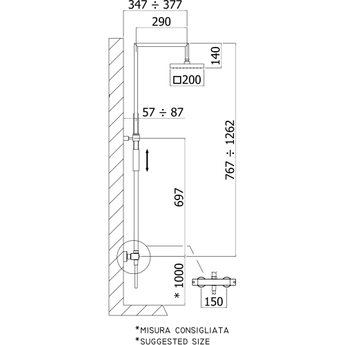 Paffoni Syncro brusekolonne med håndbruser - Krom