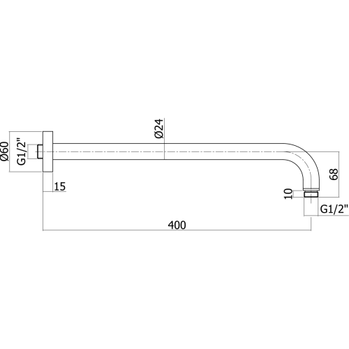 Paffoni Luxury brusearm 400mm - Krom