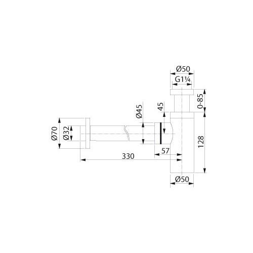 """Design Pungvandlås T/Håndvask 1 1/4"""" - Poleret Messing"""