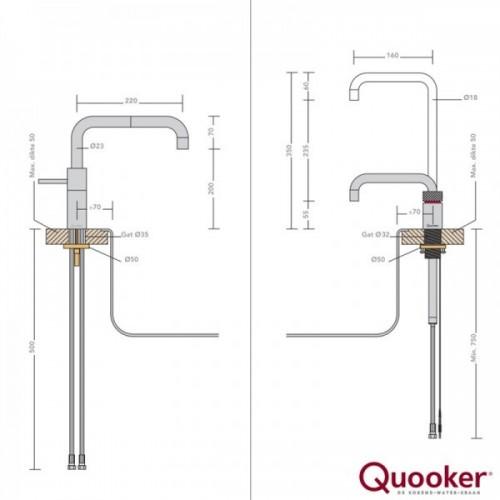 Quooker Nordic Square Twintaps inkl. COMBI beholder - Krom