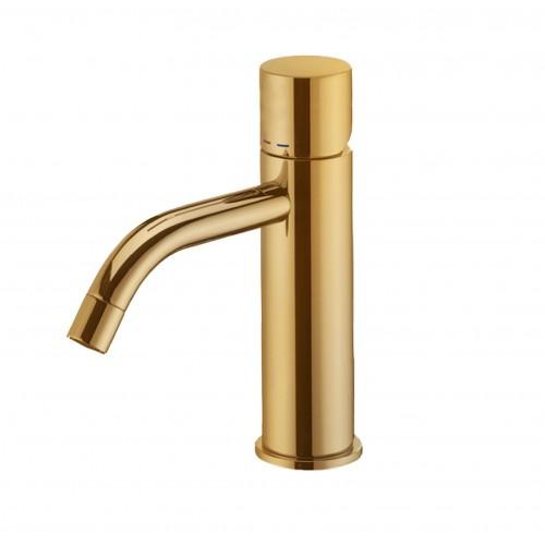 Paffoni Light håndvaskarmatur cylindergreb - Børstet Messing