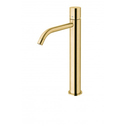 Paffoni Light forhøjet håndvaskarmatur cylindergreb - Poleret Messing